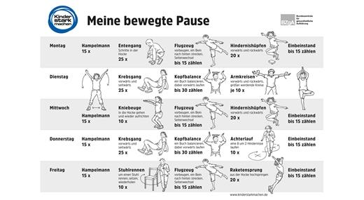 Ansicht Stundenplan mit Sportübungen